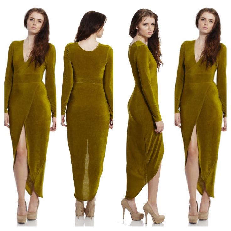 SI Olive Green Wrap Dress