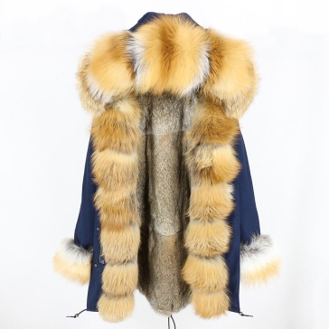 gold fox fur parka blue
